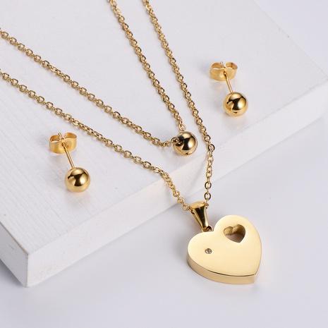 heart shape pendant necklace glossy earrings set wholesale Nihaojewelry NHON391940's discount tags