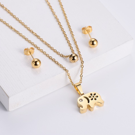 Round Bead Earrings Double Chain Animal Hollow Elephant Pendant Necklace Set wholesale Nihaojewelry NHON391943's discount tags