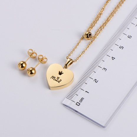 wholesale jewelry round bead heart pendant titanium steel necklace earrings set nihaojewelry  NHON391947's discount tags