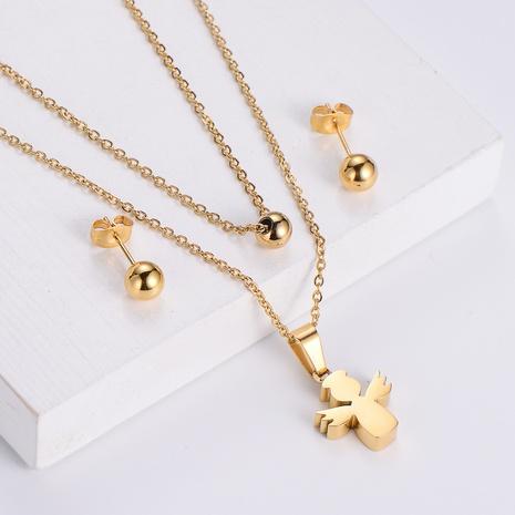 Angel Pendant Double Chain Titanium Steel Fashion Round Bead Earrings Three-piece wholesale jewelry Nihaojewelry NHON391949's discount tags