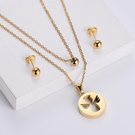 titanium steel cupid pendant double chain necklece round bead earrings three-piece wholesale Nihaojewelry NHON391950's discount tags
