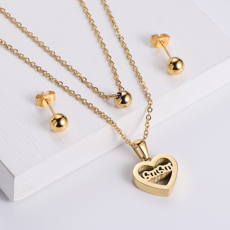 hollow heart shape pendant necklace glossy beads earrings sets wholesale Nihaojewelry NHON391948's discount tags