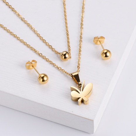 titanium steel round bead earrings double chain butterfly pendant necklace set wholesale Nihaojewelry NHON391951's discount tags