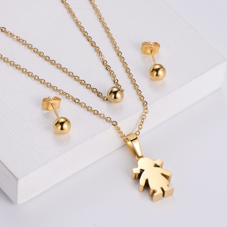 wholesale jewelry glossy bead earrings cartoon girl pendant necklace sets Nihaojewelry NHON391952's discount tags