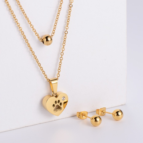 round bead earrings heart shape dog footprint pendant necklace three-piece wholesale Nihaojewelry NHON391954's discount tags