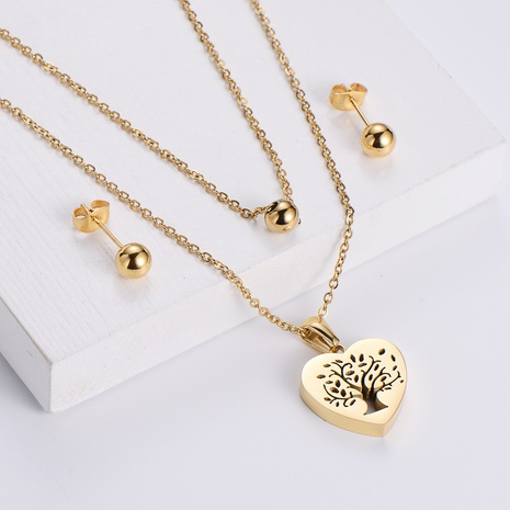heart hollow tree pendant necklace round bead earrings three-piece wholesale Nihaojewelry NHON391956's discount tags