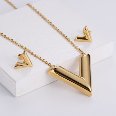 titanium steel V-shaped pendant necklace earrings sets wholesale Nihaojewelry NHON391957's discount tags