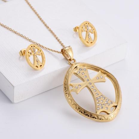 Diamond Cross Pendant OL Style Necklace Earrings Three-piece wholesale Nihaojewelry NHON391958's discount tags