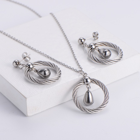 water droplet pendant necklace earrings three-piece wholesale Nihaojewelry NHON391959's discount tags