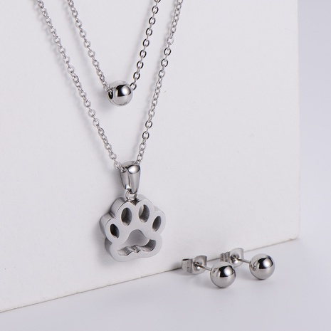 hollow dog footprint pendant double-layer chain necklace earrings three-piece wholesale Nihaojewelry NHON391960's discount tags