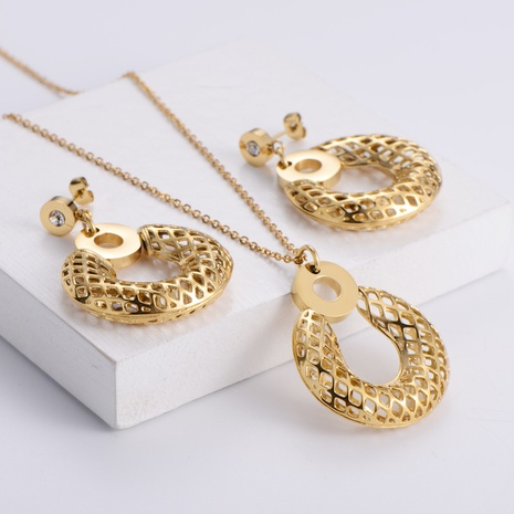 hollow round tag OL style necklace earrings three-piece wholesale Nihaojewelry NHON391961's discount tags