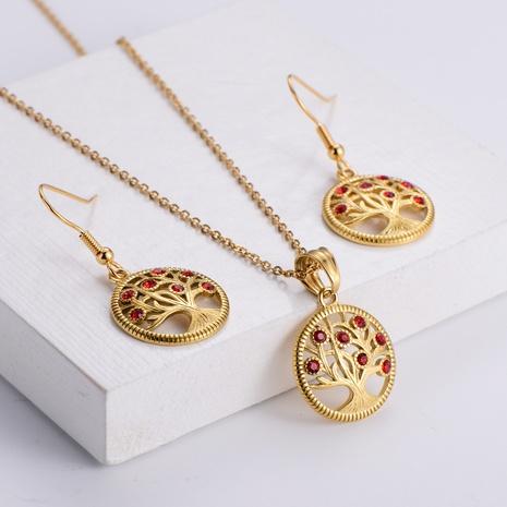 diamond tree pendant fashion necklace earrings set wholesale Nihaojewelry NHON391963's discount tags