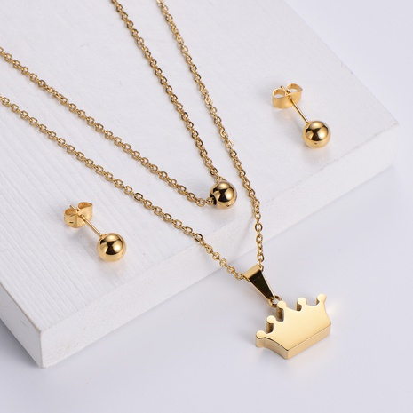 glossy crown pendant double chain necklace round bead earrings three-piece wholesale Nihaojewelry NHON391965's discount tags