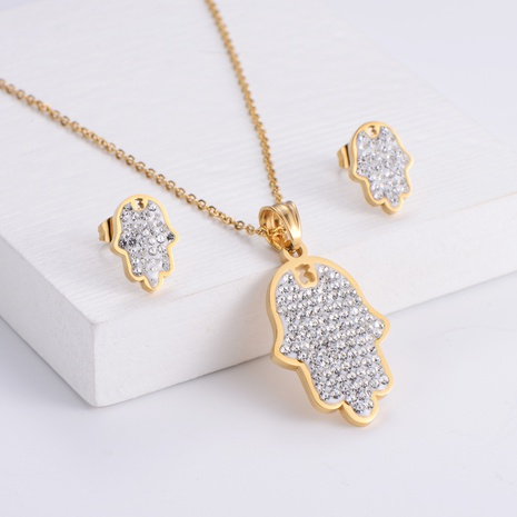 palm pendant rhinestones necklace earrings set wholesale Nihaojewelry NHON391967's discount tags