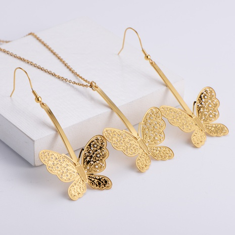 Hollow Butterfly Pendant Fashion Necklace Earrings Set wholesale Nihaojewelry NHON391969's discount tags
