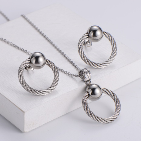 Round Pendant Korean Style Necklace Earrings Set wholesale Nihaojewelry NHON391968's discount tags
