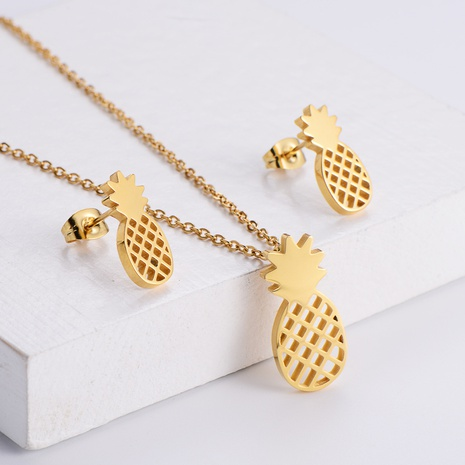 hollow pineapple fruit pendant necklace earrings set wholesale Nihaojewelry NHON391970's discount tags