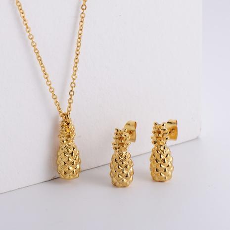 fruit pineapple pendant necklace earrings set wholesale Nihaojewelry NHON391971's discount tags