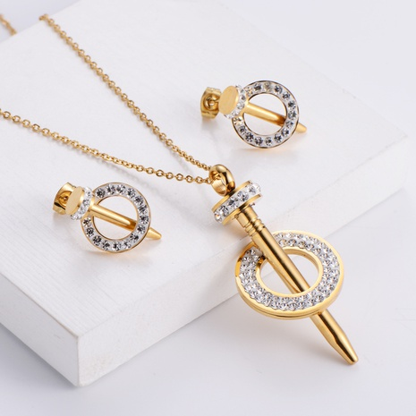 Nail Rhinestone Pendant Necklace Earrings Set wholesale Nihaojewelry NHON391972's discount tags