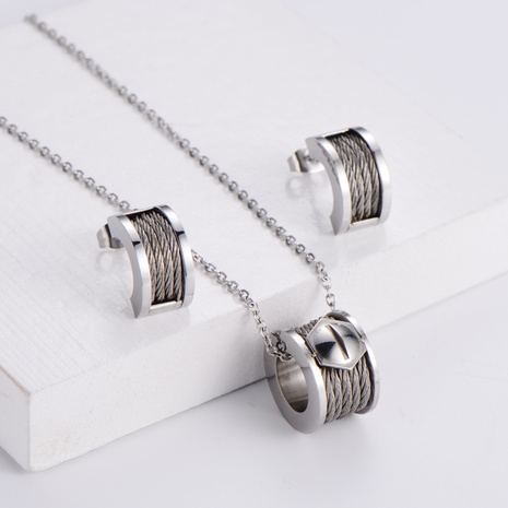 Round Pendant Necklace Earrings Set wholesale Nihaojewelry NHON391974's discount tags