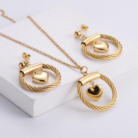 golden heart-shaped pendant necklace earrings set wholesale Nihaojewelry NHON391973's discount tags