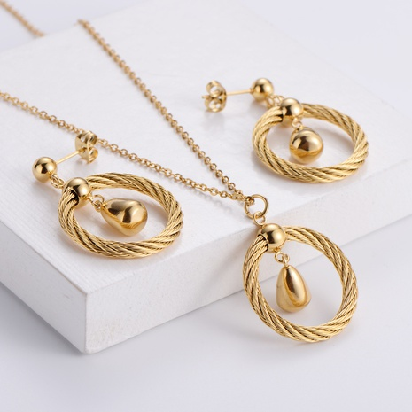 water droplets round pendant necklace earrings set wholesale Nihaojewelry NHON391975's discount tags
