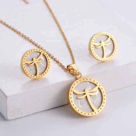 dragonfly animal pendant necklace earrings set wholesale Nihaojewelry NHON391976's discount tags