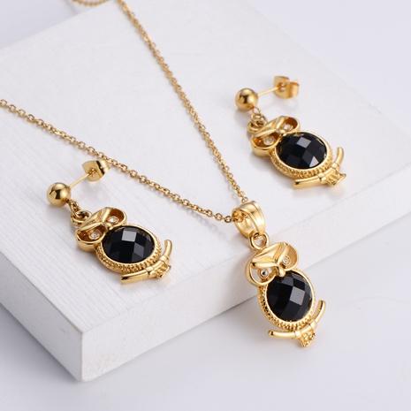 black diamond animal element pendant necklace earrings set wholesale Nihaojewelry  NHON391977's discount tags