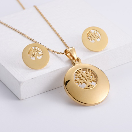 Gold Tree of Life Hollow Pendant Necklace Earrings Set wholesale Nihaojewelry NHON391979's discount tags