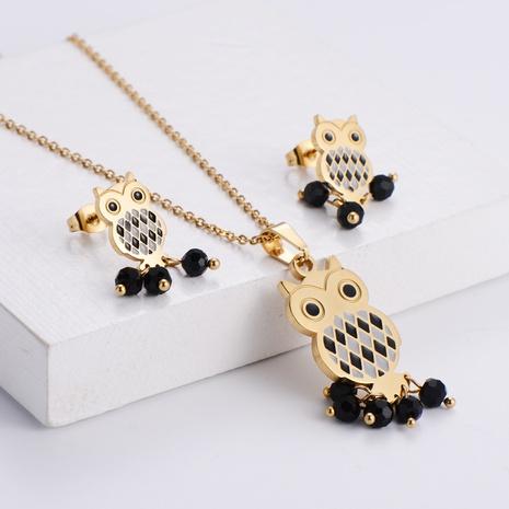 Animal Owl Black Rhinestone Pendant Necklace Earrings Set wholesale Nihaojewelry NHON391982's discount tags