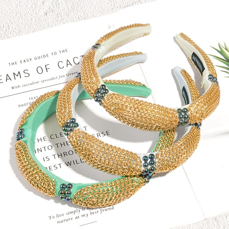 wholesale new metal chain black beads sponge headband Nihaojewelry  NHAQ392079's discount tags