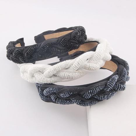 wholesale fashion twist beads solid color wide headband Nihaojewelry  NHWJ392121's discount tags