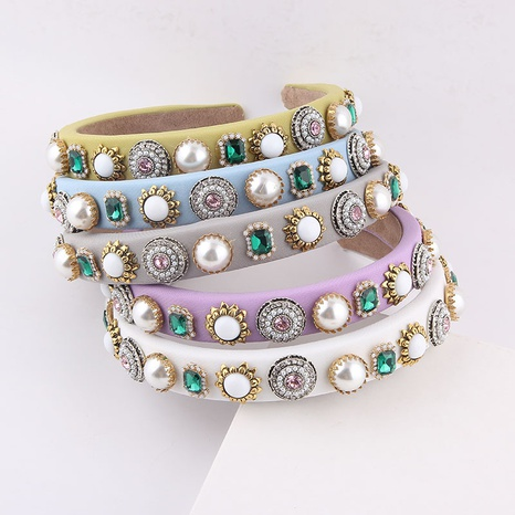 wholesale fashion narrow-edge sponge diamond-studded pearl headband Nihaojewelry  NHWJ392123's discount tags