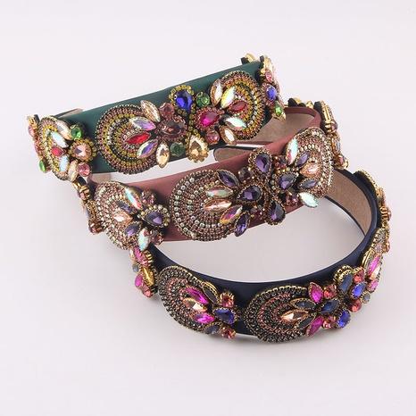 wholesale Baroque fashion color diamond wide headband Nihaojewelry  NHWJ392126's discount tags