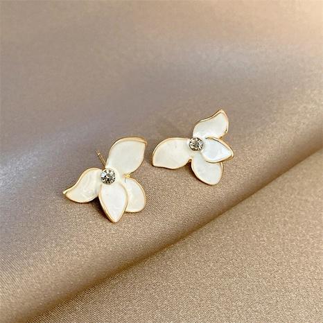 Wholesale Korean White Petal Zircon Stud Earring Nihaojewelry  NHPF392144's discount tags