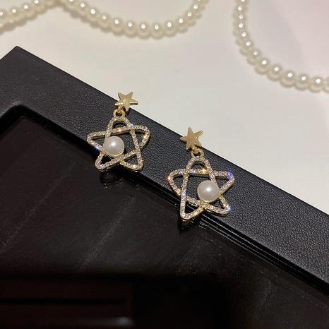 wholesale jewelry five-star pearl earrings Nihaojewelry NHPF392150's discount tags
