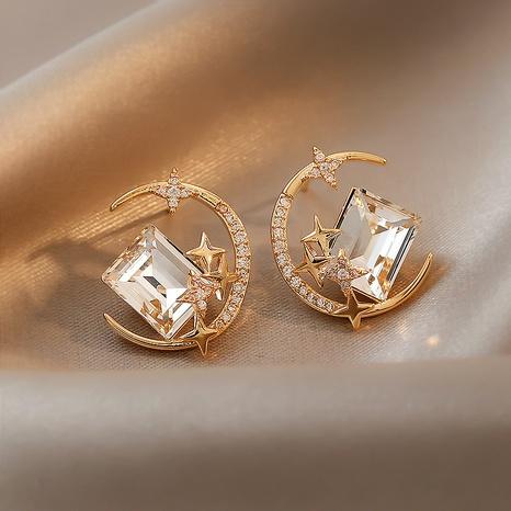 wholesale Korean moon star alloy diamond gem earrings Nihaojewelry  NHPF392152's discount tags