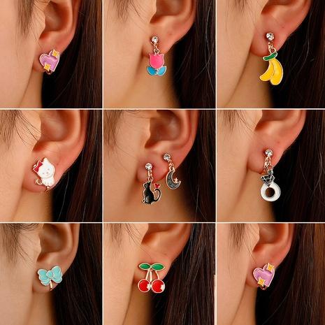 wholesale cartoon dripping oil flower heart earrings Nihaojewelry  NHDP392163's discount tags
