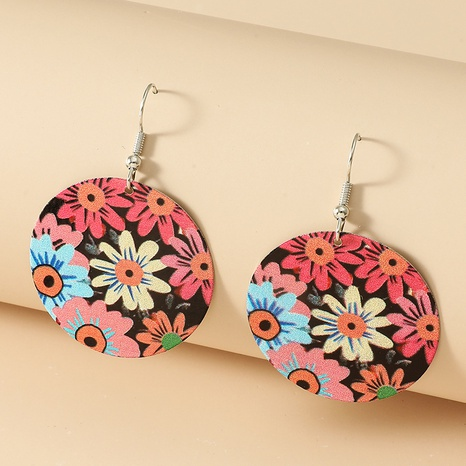 color daisy flower round retro earrings wholesale jewelry Nihaojewelry NHDP392161's discount tags