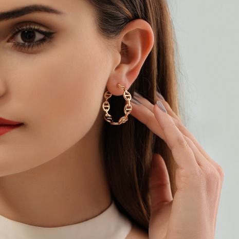 wholesale fashion geometric hollow C-shaped pig nose earrings Nihaojewelry  NHDP392166's discount tags