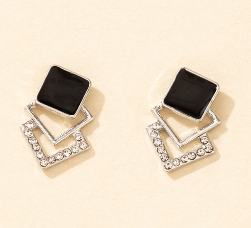 wholesale jewelry hollow square inlaid diamond gem earrings nihaojewelry  NHGY391660's discount tags