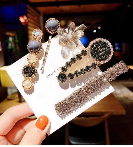 Wholesale pearl bangs hairpin girl's rhinestone hair clips set hair accessories NHQIY392178's discount tags