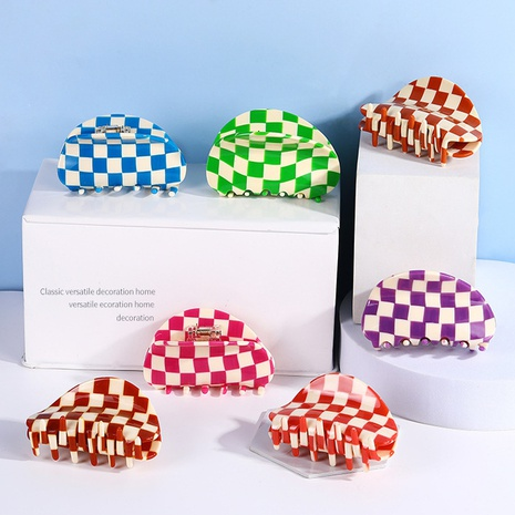 Wholesale acetic acid semicircle catch clip color checkerboard girl hair catch shark clip NHQIY392190's discount tags