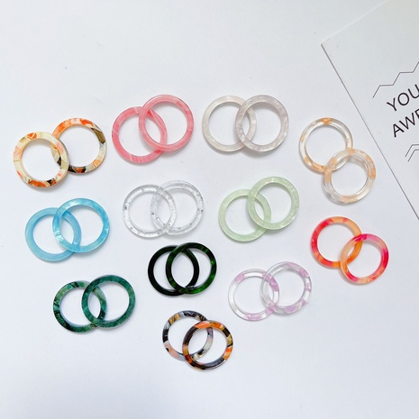 Wholesale Korean acrylic acetate ring fashion girl transparent colored rings NHQIY392191's discount tags