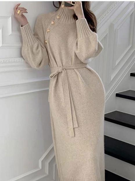 Pull d'automne en gros longue robe tricotée au-dessus du genou pour femmes NHKO393536's discount tags