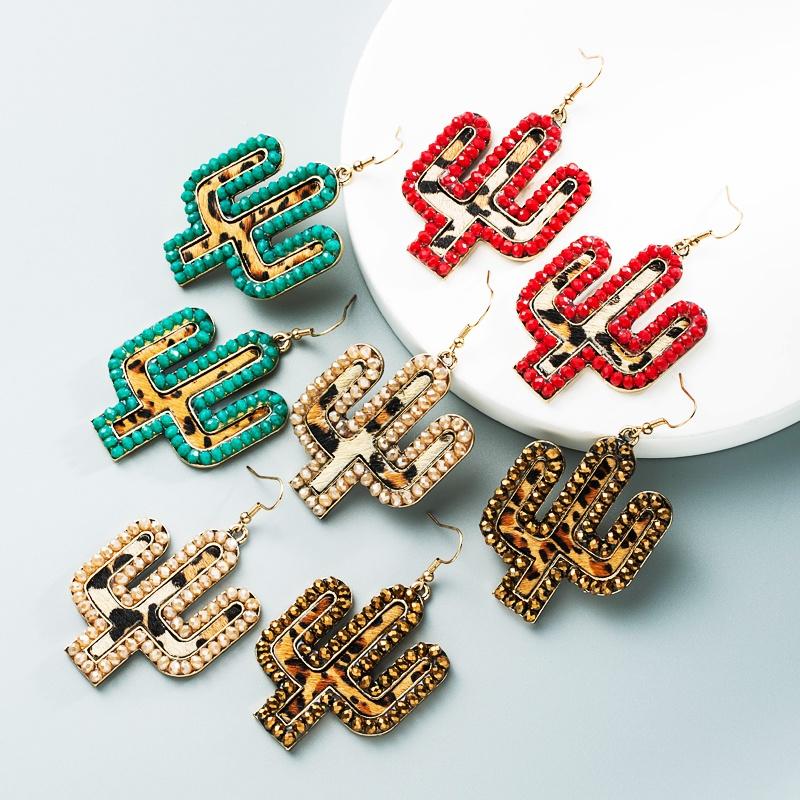 wholesale new creative leather leopard print cactus earrings Nihaojewelry  NHLN392946