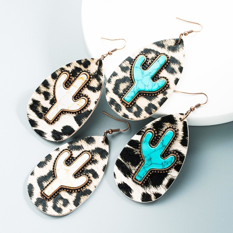 wholesale retro leather cactus turquoise earrings Nihaojewelry  NHLN393373's discount tags