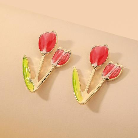wholesale red oil dripping tulip flower earrings Nihaojewelry NHNJ393027's discount tags