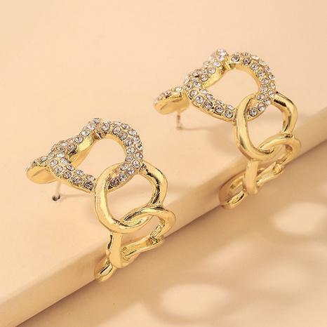 wholesale Pendientes en forma de C de cadena geométrica de diamantes de imitación con incrustaciones Nihaojewelry NHNJ393029's discount tags