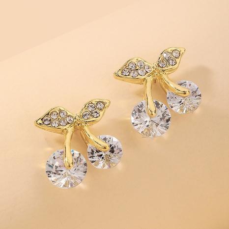 wholesale retro fruit rhinestone cherry earrings Nihaojewelry NHNJ393030's discount tags
